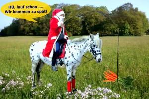 Weihnachtsmann mit Pferd
